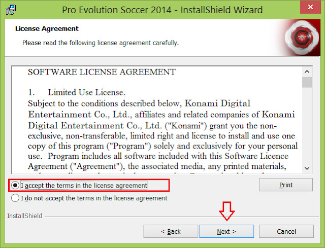 """Chọn """"I accept the terms in the license agreement"""" và click """"Next"""""""